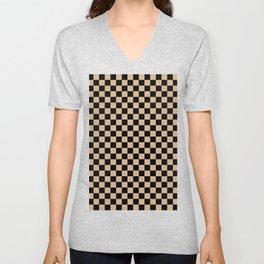 Black and Tan Brown Checkerboard Unisex V-Neck