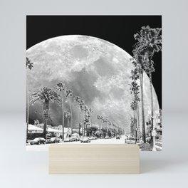 California Dream // Fantasy Moon Beach Sidewalk Black and White Palm Tree Silhouette Collage Artwork Mini Art Print