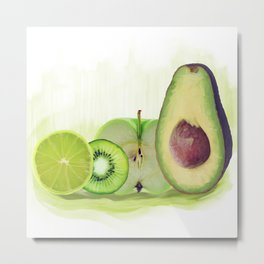 Fresh Green fruits watercolor painting Metal Print