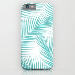 Soft Turquoise Palm Leaves Dream - Cali Summer Vibes #2 #tropical #decor #art #society6 iPhone Case