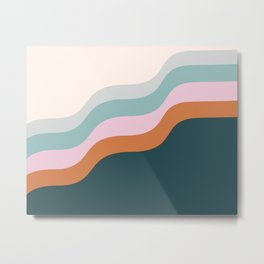 Abstract Diagonal Waves in Teal, Terracotta, and Pink Metal Print