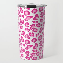 Leopard-Pinks on White Travel Mug