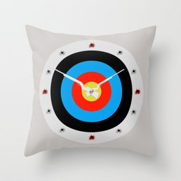 Bullseye clock design. Throw Pillow