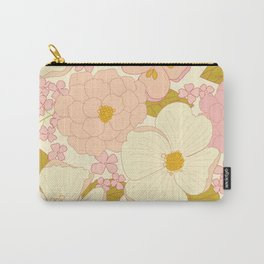 Pink Pastel Vintage Floral Pattern Carry-All Pouch
