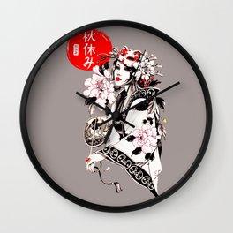 Beautiful Japanese Geisha Girl Wall Clock