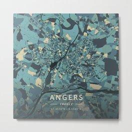 Angers, France - Cream Blue Metal Print