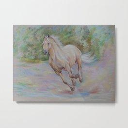 Palomino horse galloping Pastel drawing Horse portrait Equestrian decor Metal Print