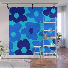 Blue Retro Flowers Pastel Blue Background #decor #society6 #buyart Wall Mural