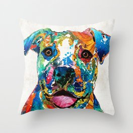 Colorful Dog Pit Bull Art - Happy - By Sharon Cummings Throw Pillow