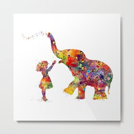 Girl And Elephant Kids Gift Colorful Watercolor Art Metal Print