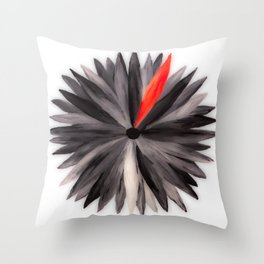 Abstract Black and Red Flower Throw Pillow