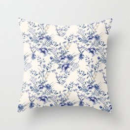Chinoiserie Flowers Blue on Seashell Throw Pillow