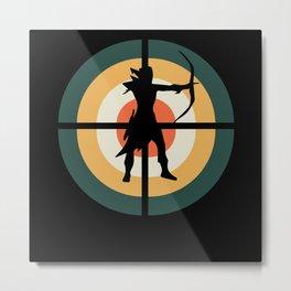 Archery Target Retro Metal Print