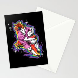 Rugby Unicorn - Pushing On The Rainbow Stationery Cards