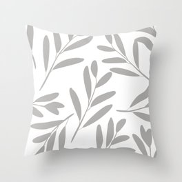 Prints of Leaves, Gray and White, Wall Art Prints Throw Pillow