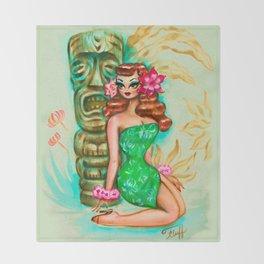 Tropical Pinup Girl with Tiki Throw Blanket