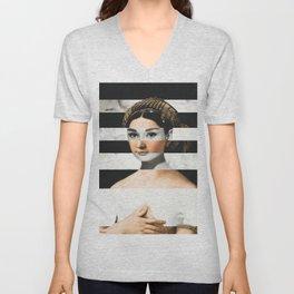 Raphael's La Fornarina & Audrey Hepburn Unisex V-Neck