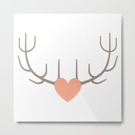 The Love of Antlers Metal Print