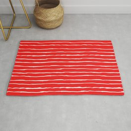 Red and White Autumn Stripes Rug