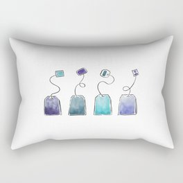 Blue tea bags Rectangular Pillow
