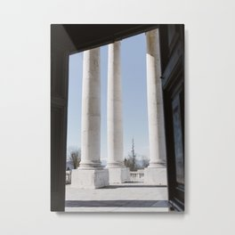 Turin pillars in winter time in white and blue | Europe travel photography print of Italy  Metal Print