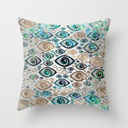 Greek Evil Eye pattern Abalone shell and gold #2 Throw Pillow