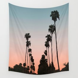 California Sunset // Palm Tree Silhouette Street View Orange and Blue Color Sky Beach Photography Wall Tapestry
