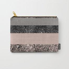 Blush Glitter Glam Stripes #1 #shiny #decor #art #society6 Carry-All Pouch