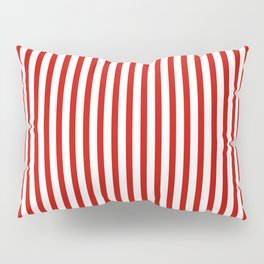 Red & White Maritime Vertical Small Stripes - Mix & Match with Simplicity of Life Pillow Sham