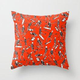 Grim Ripper Skater RED Throw Pillow