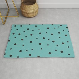 Seamless Black Polka Dots Pattern on Turquoise Background Rug