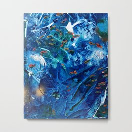 Rainbow Fish Swim, Environmental Tiny World Collection Metal Print