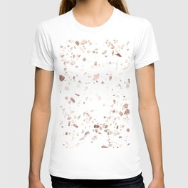 Rose Gold on White Terrazzo T-Shirt