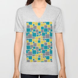 Funky Mosaic Pattern V5 Pantone 2021 Colors of the Year and Accent Hues Unisex V-Neck