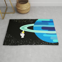 Space Odyssey   Astronaut & Planet   Space   Saturn   Galaxy   pulps of wood Rug