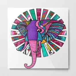 Pastel Purple African Colorful Elephant Metal Print