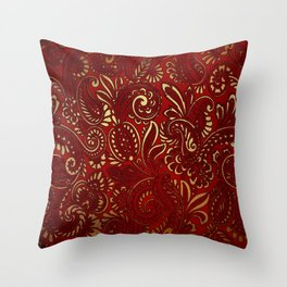 Red Burgundy Deep Gold Paisley Floral Pattern Print Throw Pillow