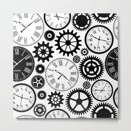 Black & White Clocks Metal Print