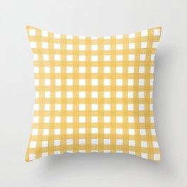 Farmhouse Gingham in Harvest Yellow Throw Pillow