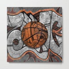 Black Basketball Graffiti on Brick Wall Metal Print