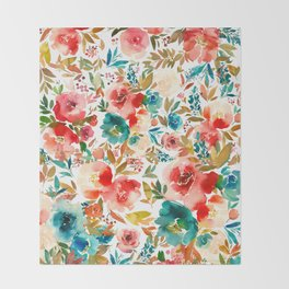 Red Turquoise Teal Floral Watercolor Throw Blanket