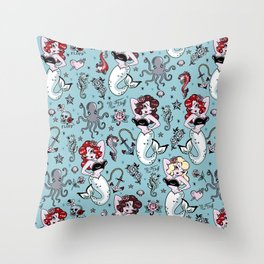 Molly Mermaid vintage pinup inspired nautical tattoo Throw Pillow