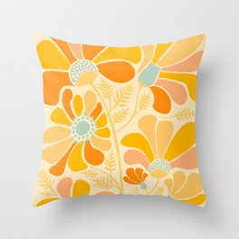 Sunny Flowers / Floral Illustration Throw Pillow
