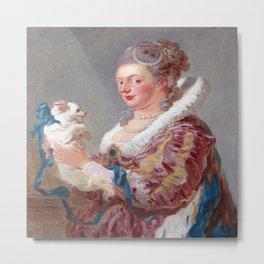 Jean Honore Fragonard Woman with a Dog Metal Print