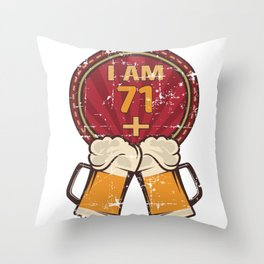I Am 71 Plus 2 - Humorous 73rd Birthday Party Beer Lover product Throw Pillow