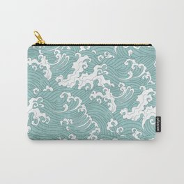 Traditional Hand Drawn Japanese Wave Ink Carry-All Pouch