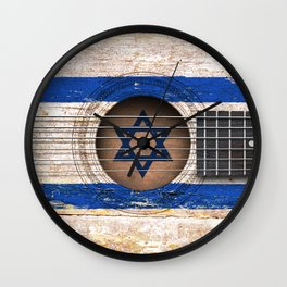 Old Vintage Acoustic Guitar with Israeli Flag Wall Clock