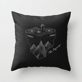 The Beginning - black Throw Pillow