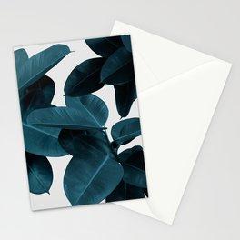 Indigo Blue Plant Leaves Stationery Cards