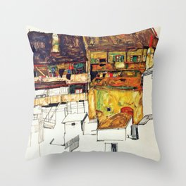 Egon Schiele - Old houses in Krumau 1914 Throw Pillow